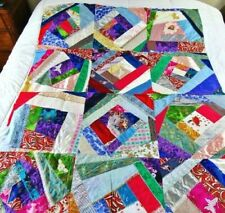 "Unfinished Crazy Quilt Top,3-D Crochet Rose,Glitter Lace,Embroidered 45""x 58"""