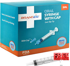 5ml Syringe With Cap 100 Pack Oral Dispenser Without Needle Luer Slip Tip