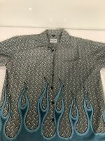 90s VTG DAVID CAREY ORIGINALS Diamond Plate FLAMES Mechanic Shirt XL Car Garage