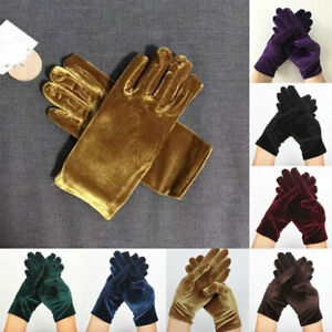Women Gold Velvet Gloves Elastic Full Finger Gloves Etiquette Cycling Mittens