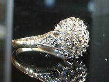 STUNNING 9CT GOLD 0.25ct 38 DIAMOND CLUSTER RING ART DECO Diamond shoulders M12