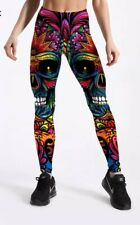Semi Satin Tribe Skull Print Multicoloured  Leggings Trousers Size L (UK 12-14)