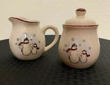 Royal Seasons Snowman Christmas Creamer & Sugar Bowl With Lid Holiday Stoneware.