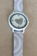 New Women's White Watch Crystal Hours Accented Heart Dial on Faux Leather Band!