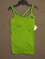 Women's L Everlast lime green gray gym yoga workout seamless tank bra cups
