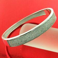 281 GENUINE REAL 925 DIAMOND SIMULATED STERLING SILVER LADIES BANGLE BRACELET