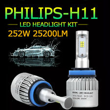 2x 252W PHILIPS 25200LM H8 H9 H11 LED Headlight Car 6500K Bulbs White Lamp Chop