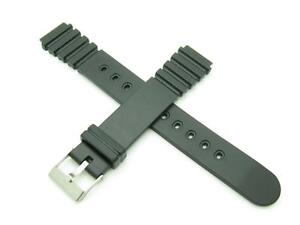 High Quality Genuine Black Rubber 16mm Replacement Watch Band With Pins Included