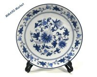 VINTAGE ANTIQUE PORCELAIN PLATE BLUE & WHITE CHINESE HAND PAINTED ROSE PATTERN