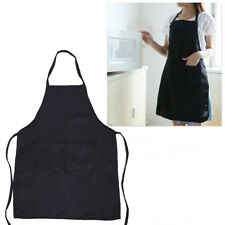 Mens Ladies Womens Work Apron Overall Plain Uniform Catering Pocket Black