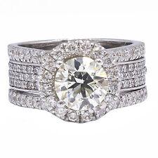 3.25 Ct Round Cut K Vs1 Diamond Engagement Ring 18k White Gold Certified