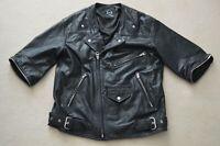 Alexander McQueen MCQ Black Leather Biker Style Zip Sleeve Jacket Coat IT40 UK8