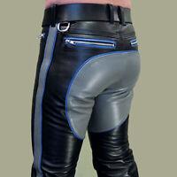 Men's Real Natural Cowhide Leather Bikers Pants Contrast Panels & Stripes Pants