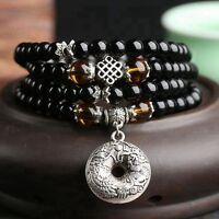 6mm Stone Buddhist Black Obsidian Prayer Beads Mala Bracelet Necklace + Pouch