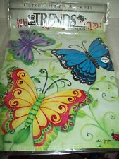 """Carson Accents 13"""" x 18"""" Double Sided Garden Flag """"Welcome Friends"""" Butterfies"""