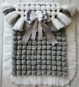 Pompom White And Silver Grey Unisex Baby Blanket With Two Coloured Fringe
