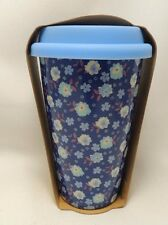 Flowers Travel Coffee Mug Cup 10 oz Ceramic Blue Silicone Lid Eco One New
