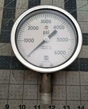"""0-6000 PSI Stainless Hydraulic Pressure Gauge 4"""" Dial AMETEK Wet Or Dry [A6S5]"""
