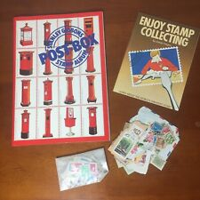 Vintage Stanley Gibbons Post Box Stamp Album & 100+ International Stamps