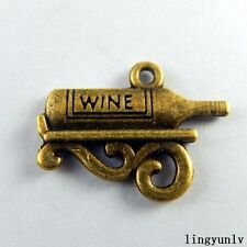 50897 Antique Bronze Alloy Wine Bottle Pendants Charms Findings Crafts 40pcs