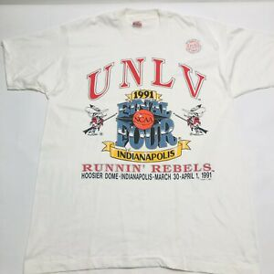 UNLV 1991 Final Four Running Rebels Indianapolis Deadstock White T Shirt Size XL