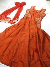 EVENING DRESS victorian edwardian bollywood theatre costume 10 12 orange downton