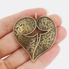 5pcs Antique Bronze Large Heart Shape Charms Pendants Jewelry Findings 52x45mm