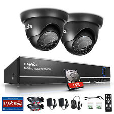 Sannce 720P Tvi Dome Cameras 4Ch 1080N 4In1 Dvr H.264 Motion Detection Email 1Tb