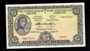 1961 LADY LAVERY CENTRAL BANK OF IRELAND 5 FIVE POUNDS BANKNOTE IRISH RARE