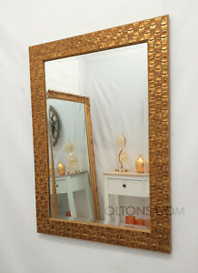 "John Lewis Gold Mosaic Wall Mirror Wood Frame Bevelled 106x76cm (42""x30"""