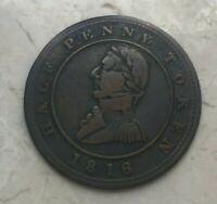 1816 Canada Montreal 1/2 Half Penny Token