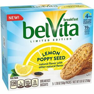 Belvita Lemon Poppy Seed Breakfast Biscuits, Limited Edition, 5 Packets, 1 Box