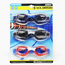 Us Divers Trilogy Adult Uv Swim Goggles 3 Pack Shatter Resistant Blue Black Red
