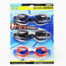 US Divers Trilogy Adult UV Swim Goggles 3 Pack Shatter Resistant Blue Black Red