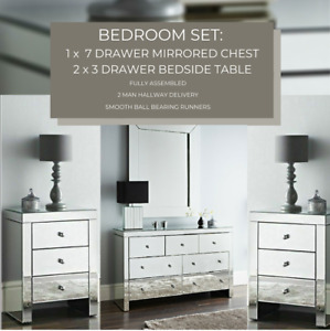 BEDROOM SET : Mirrored Chest of 7 Storage Drawers & 2 Mirror Bedside Night Chest