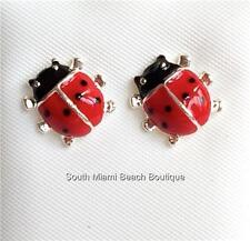 Silver Ladybug Earrings Lady Bug Insect Heart Red Enamel Pierced USA Seller