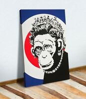 BANKSY MOD MONKEY QUEEN CANVAS ART PRINT ARTWORK STREET XL OPTIONS