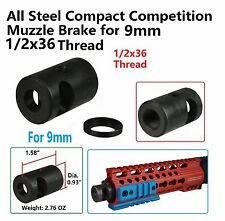 1/2x36 Thread Compact Short Competition Muzzle Brake For 9 MM W Crush Washer