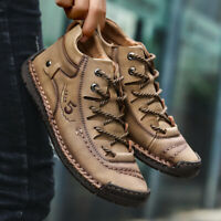 AU Men's Winter Snow Warm Boots Casual Non-slip Shoes High Top Sneakers Leather