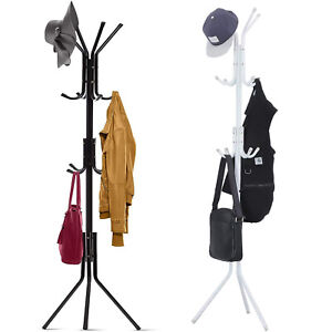"5.7ft 1¼"" Dia Free-Standing Metal Coat Rack Bag Stand 12 Hooks 3 Layer Organizer"