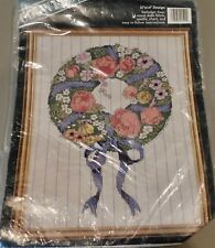 NEW Flower Wreath Counted Cross Stitch Kit Banar Designs 11 x 14 Roses,