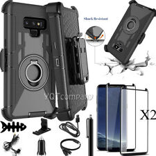 For Samsung Galaxy S8 S9 S7 S6 Note 8 4 9 5 Case Cover Belt Clip Tempered Glass