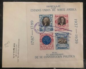 1938 Guatemala Souvenir First Day Cover FDC To New York USA Constitution homage