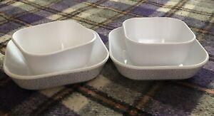 "Set of 4 Room Essentials 8""x8"" White Square Gray Speckled & White Melamine Bowls"