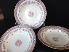 3 Antique MINTON Rimmed Soup Bowls Hand Painted Pink/Green Border Pink Roses
