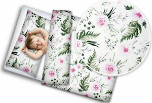 BABY 2PC BEDDING SET PILLOWCASE + DUVET COVER 70X80CM TO FIT CRIB Garden Flowers