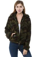 Women's Juniors Camo Fluffy Hooded Zip Up Long Sleeve Winter  Fall Jacket Coat