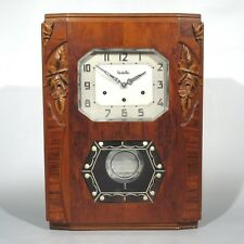 "Vintage French Art Deco ""Vedette Westminster"" Chime Wall Clock, Wood"
