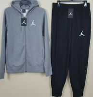 NIKE AIR JORDAN FLEECE SWEATSUIT HOODIE + PANTS GREY BLACK RARE (SIZE MEDIUM)