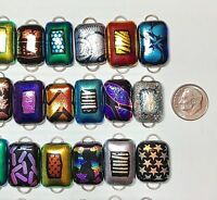 Handmade - 50 Dichroic Glass Fused Links! 2 Hoop - All Different- Regular size-H